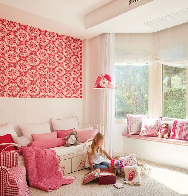 I like the idea of small section of a vivid color of wall paper ...