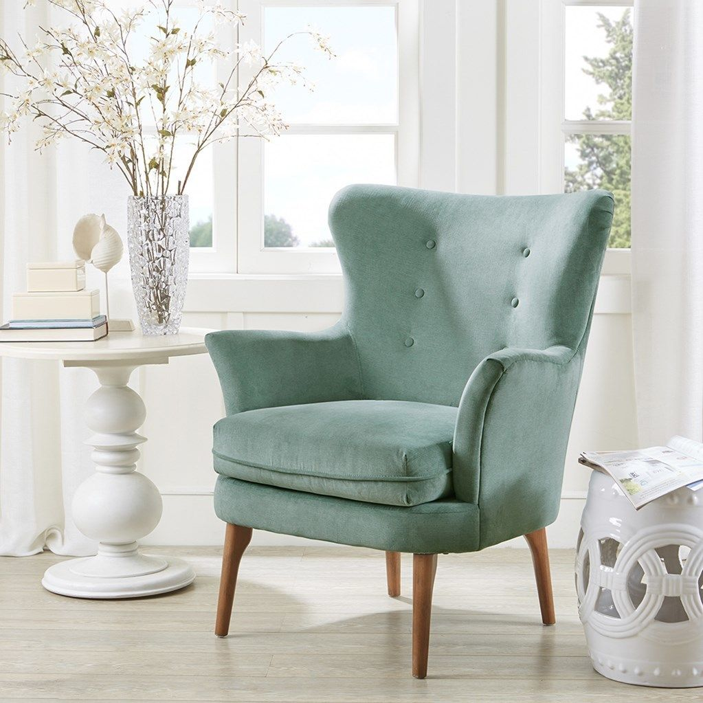 Best Brady Aqua Tailored Accent Chair Upholstered Accent 400 x 300