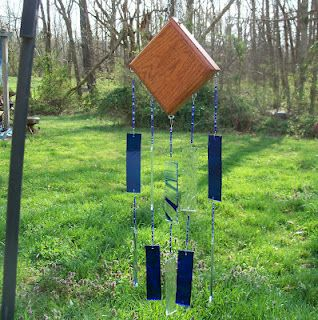 Cobalt Blue and clear wind chime