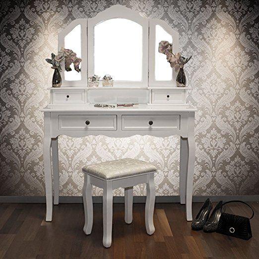 schminktisch fiona mit hocker 4 schubladen 3 spiegel 100 x 40 x 146 cm schminktisch hocker