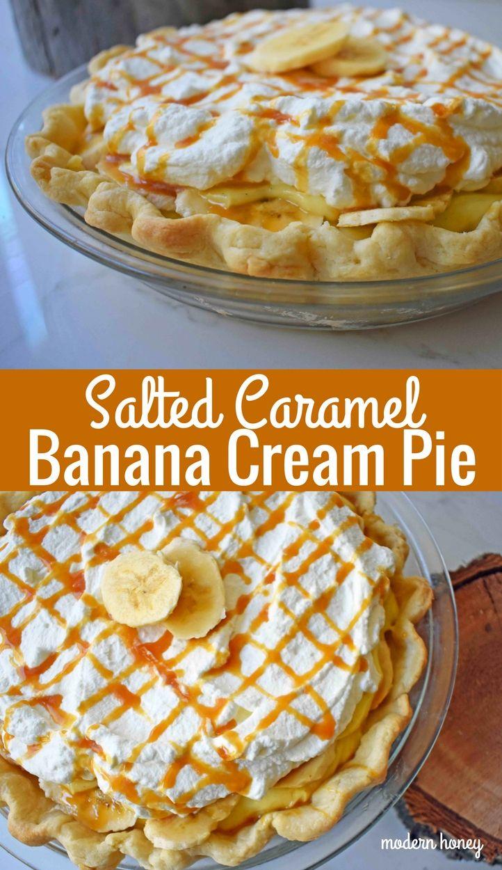 Salted Caramel Banana Cream Pie. Rich vanilla custard pie topped with fresh bananas, in a buttery flaky crust. Fresh whipped cream and salted caramel top this banana cream pie. www.modernhoney.com #sugarcreampie