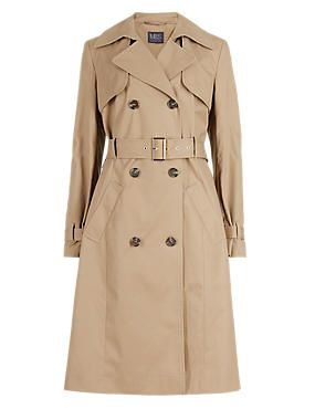 M&S Dark Camel Buttonsafe™ Pure Cotton Belted Trench Coat with Stormwear™