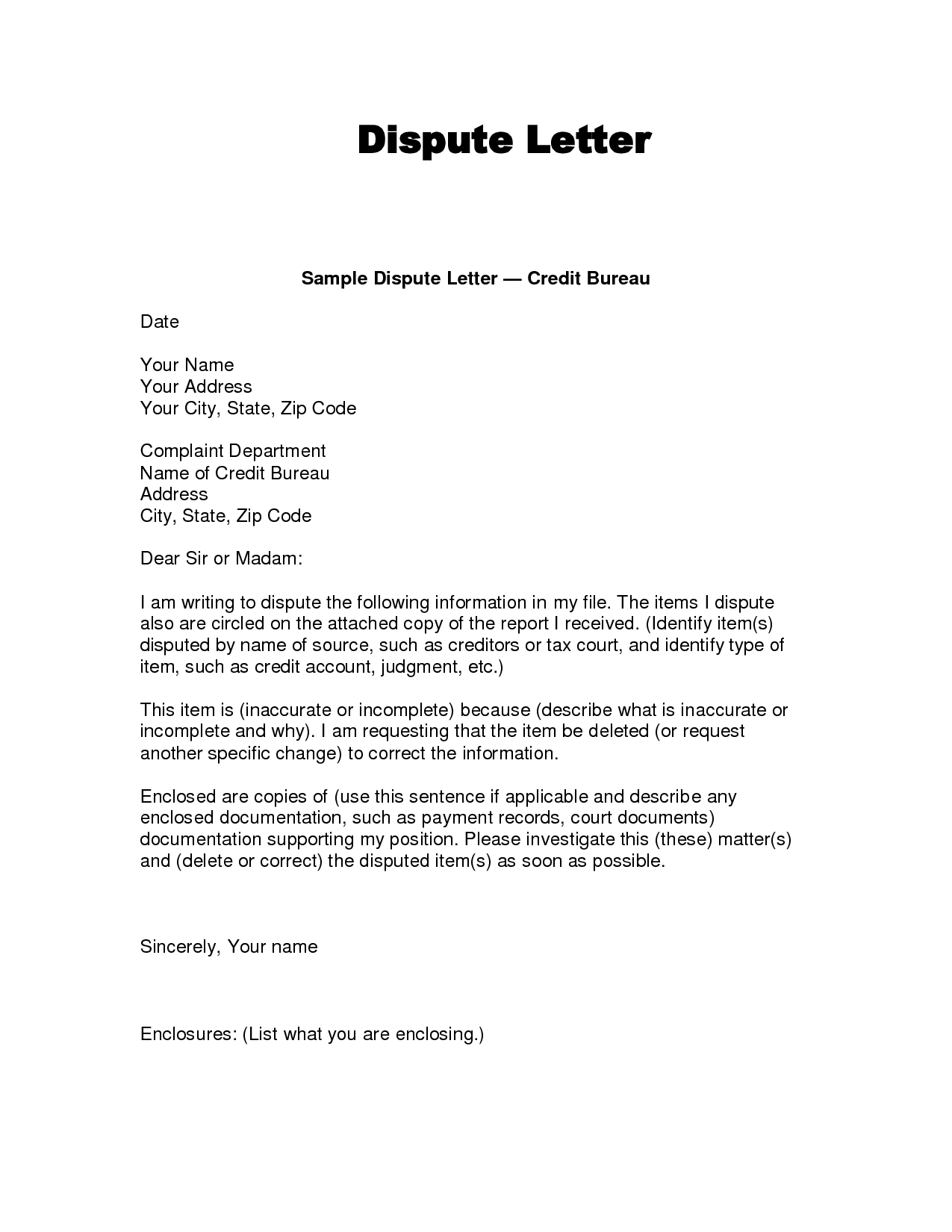 Dispute Letter Template Word Geccetackletartsco - Debt dispute letter template