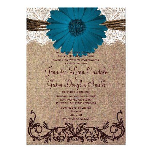 Rustic Blue Gerber Daisy Lace Wedding Invitation #wedding