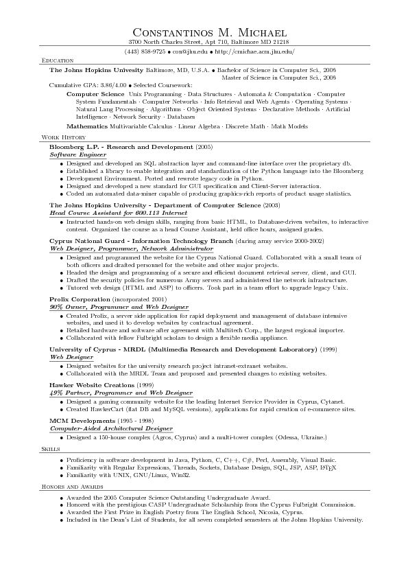 This free resume outline example has been tried and tested by many - computer science resume examples