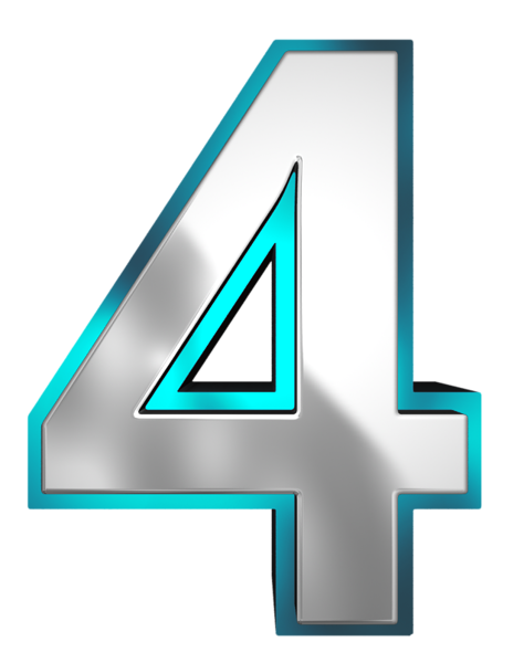 Metallic and Blue Number Four PNG Clipart Image   números ...