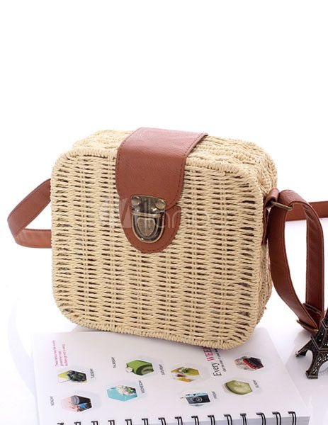 Chic Woven Horizontal Shape Wicker and Rattan Attractive Shoulder Bag For Woman - Milanoo.com