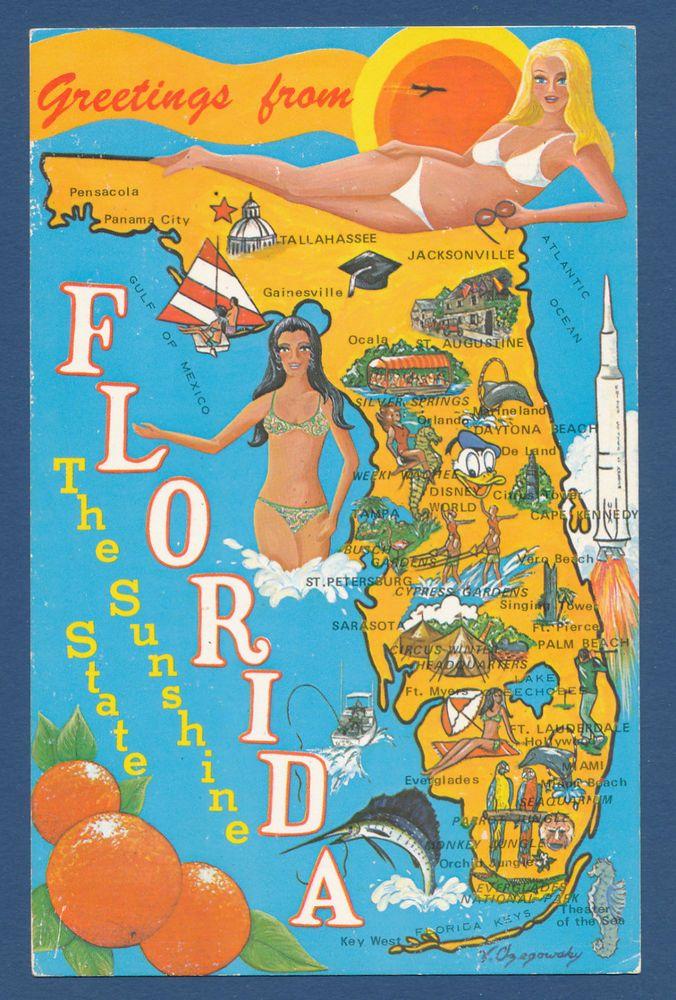 Tourist Map Of Florida.Florida State Map Postcard Vintage Postcards In 2019 Florida