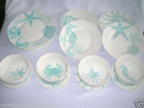 Sea themed turquoise and blue dishes by  222 Fifth