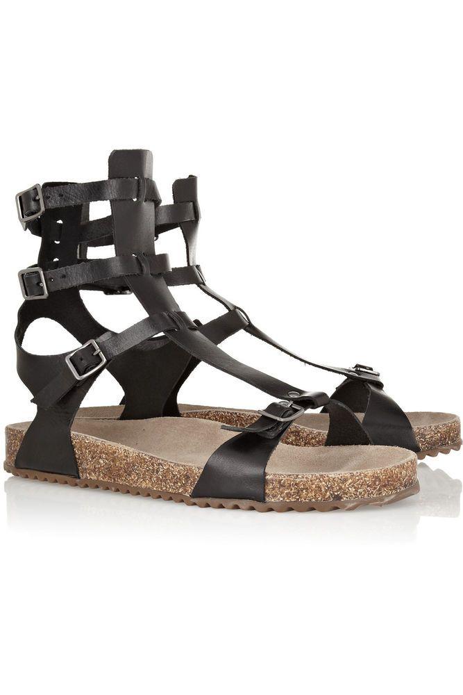 bf623f12ab4 Anthro Shoes SCHUTZ MAGNOLIA SPARTA SANDALS 7 Black Leather Gladiator Flats   Schutz  Gladiator  Any
