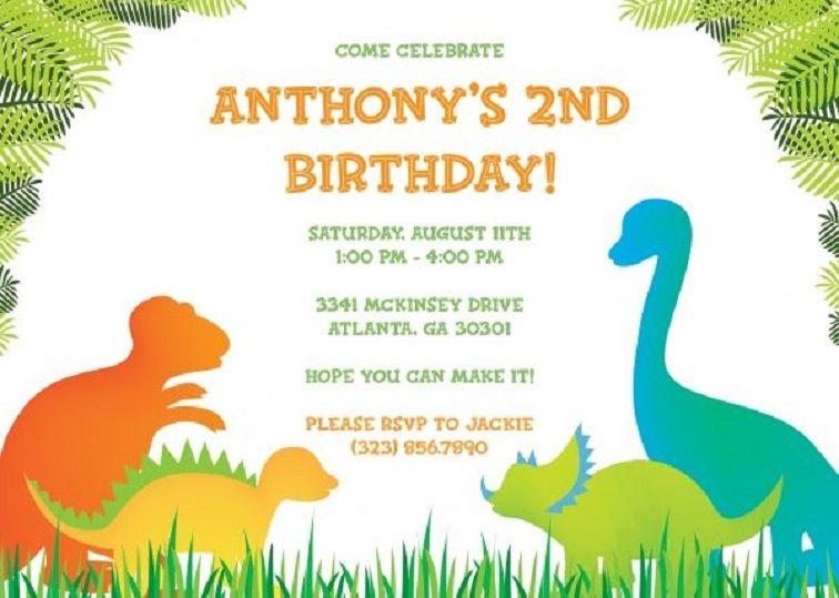 Dinosaur Birthday Invitations Template