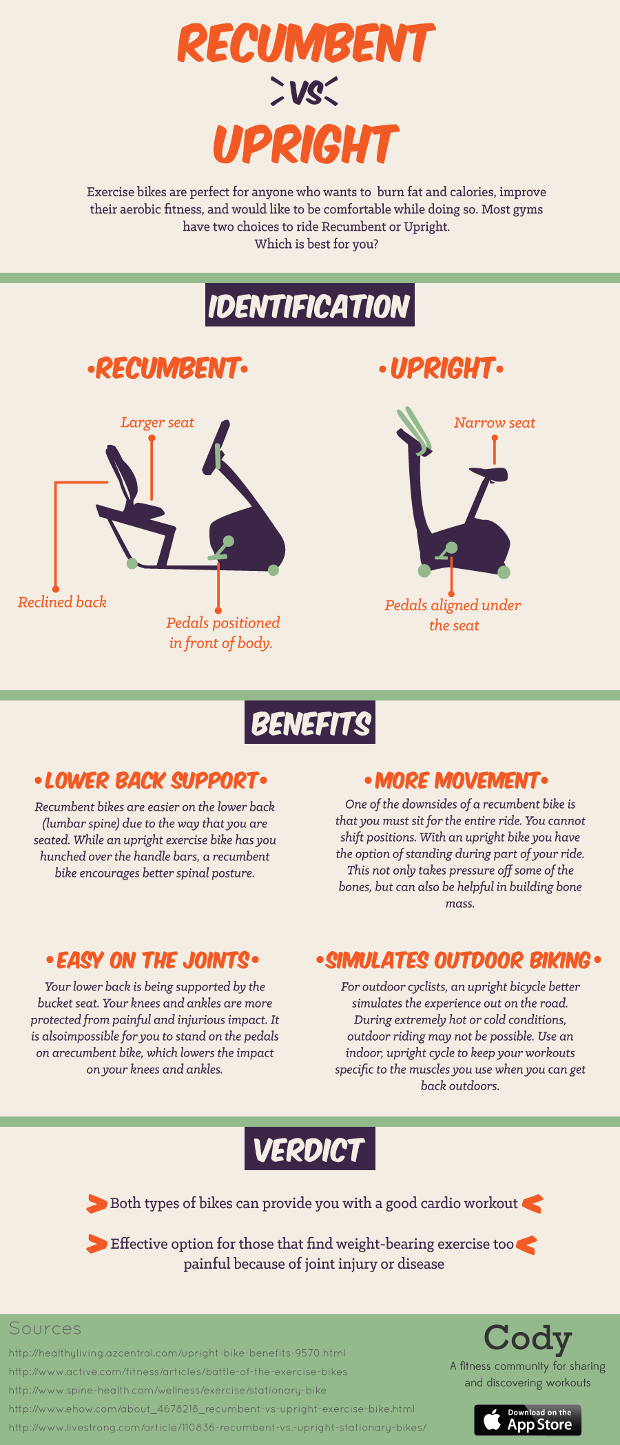 Recumbent Vs Upright Exercise Bike Infographic Biking Workout