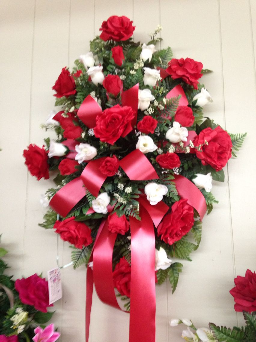 Fresh funeral spray using white lilies white stock white silk funeral spray using red roses red and white rosebuds and white filler with red izmirmasajfo