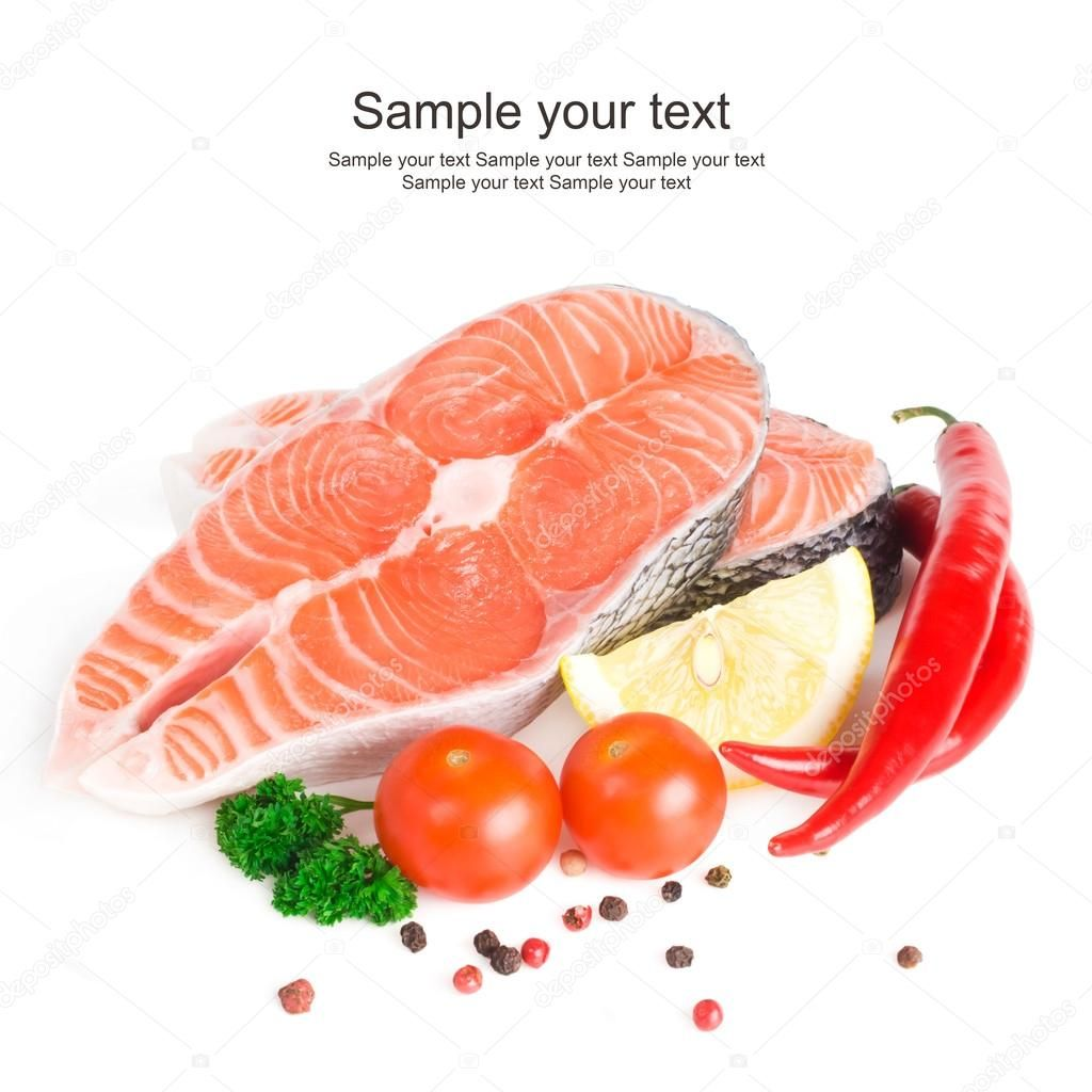 Salmon steak with lemon, pepper and parsley Royalty Free Stock Images ,
