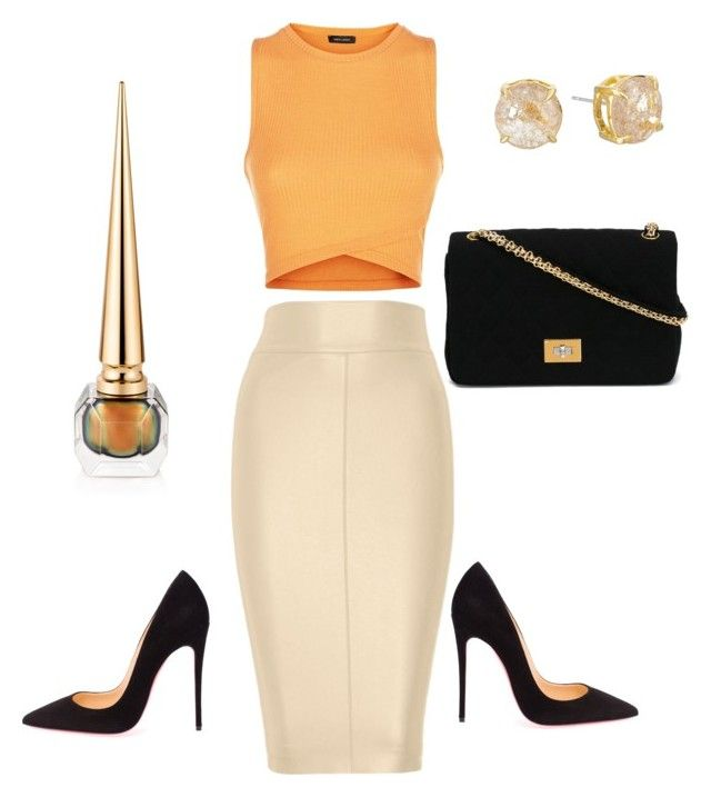 """""""ORANGE YOU GLAD"""" by samstyles001 ❤ liked on Polyvore featuring Bailey 44, Vince Camuto, Christian Louboutin and Chanel"""