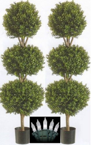 Outdoor Topiary Trees With Lights 2 artificial 56 boxwood outdoor topiary tree 4 8 triple ball 2 artificial 56 boxwood outdoor topiary tree 4 8 triple ball christmas lights workwithnaturefo