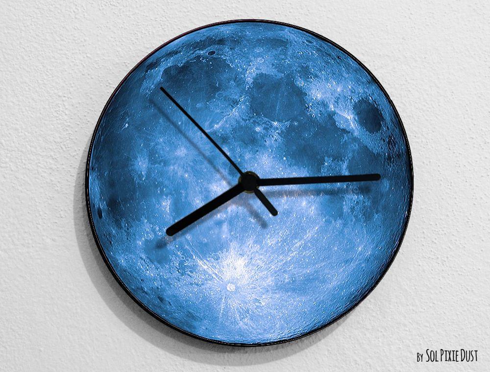 Blue Moon Moon Wall Clock