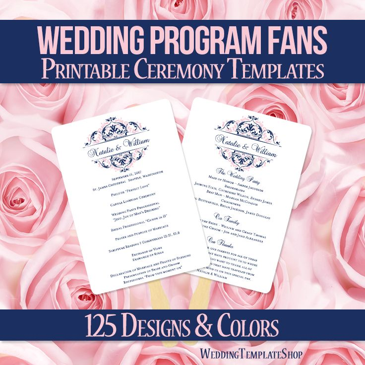 DIY Printable Wedding Program Fan template shown here in the Grace design series in blush pink and navy blue. All wording is 100% editable by you within Word. Easy to edit & print.