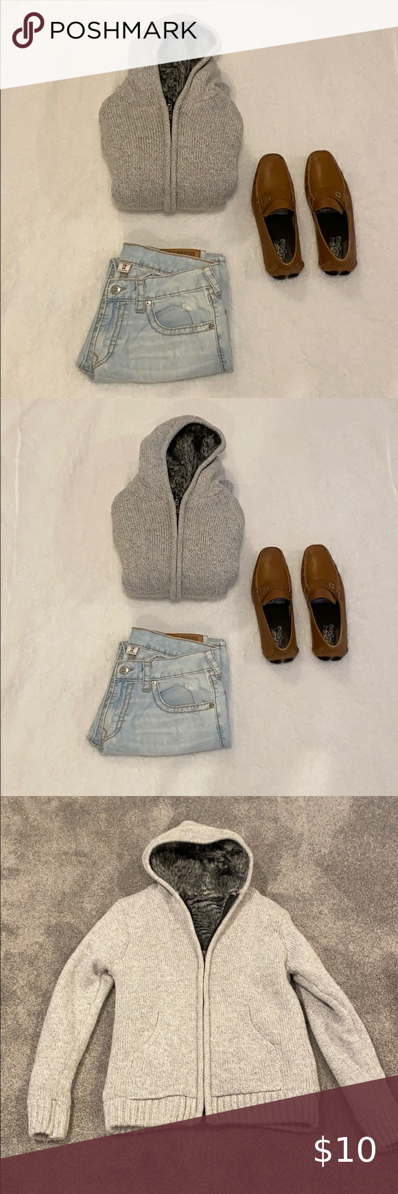 Men Wool Sweater Zip Up Hoodie Size Medium