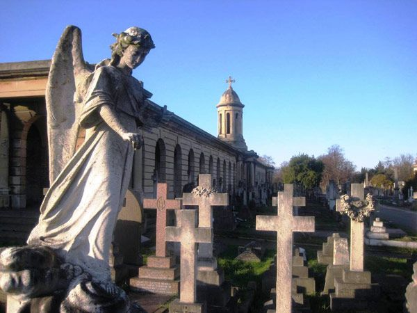 An angel overlooks the resting place of the departed