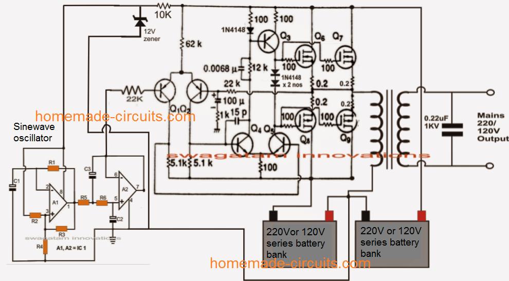 200 Watt Transformerless Sinewave Inverter Circuit Electronic Circuit Projects Circuit Projects Circuit Diagram