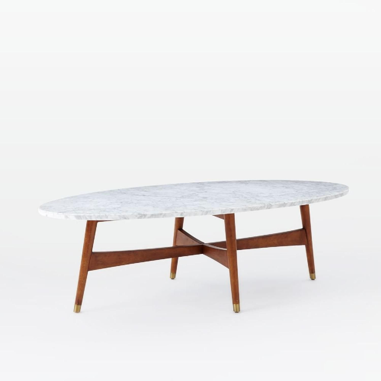 West Elm Reeve Mid Century Marble Walnut Oval Coffee Table 0