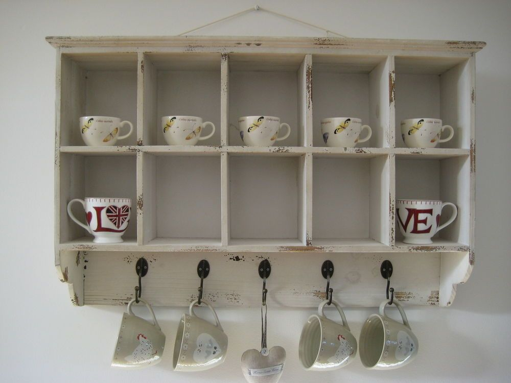 Vintage Style White Wooden Wall Shelf Display Storage Unit Shabby Chic Pigeon Wooden Wall Shelves Wall Shelf Display Wall Shelves