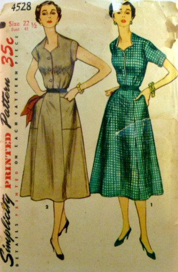 Vintage 50s Simplicity Pattern 4528 Plus by VintageNeedleFinds,