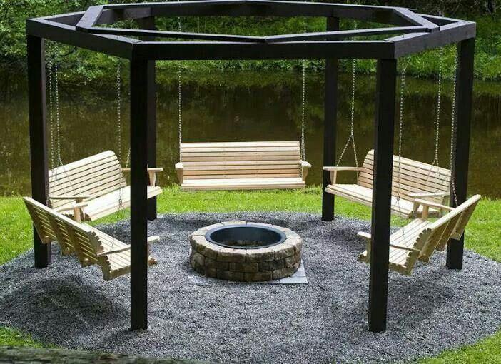 Gazebo Area Backyard Fire Pit Swings Fire Pit Seating