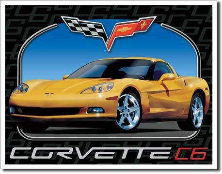 Yellow Corvette C6 Metal Collectible Advertising sign Collectible for Chevy Fan Chevrolet Made in USA