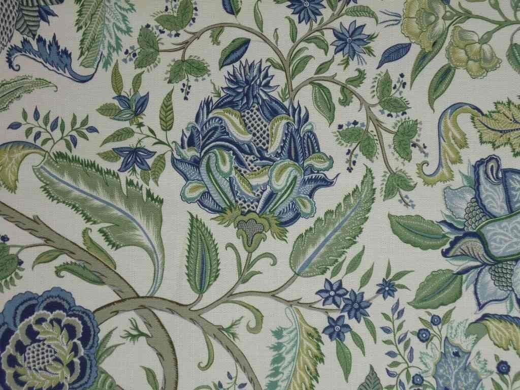 Blue Flower With Green Leaves On Linen Cotton Curtain Upholstery Fabric