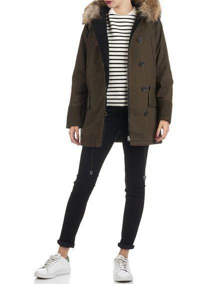 Manteau noir maje capuche fourrure
