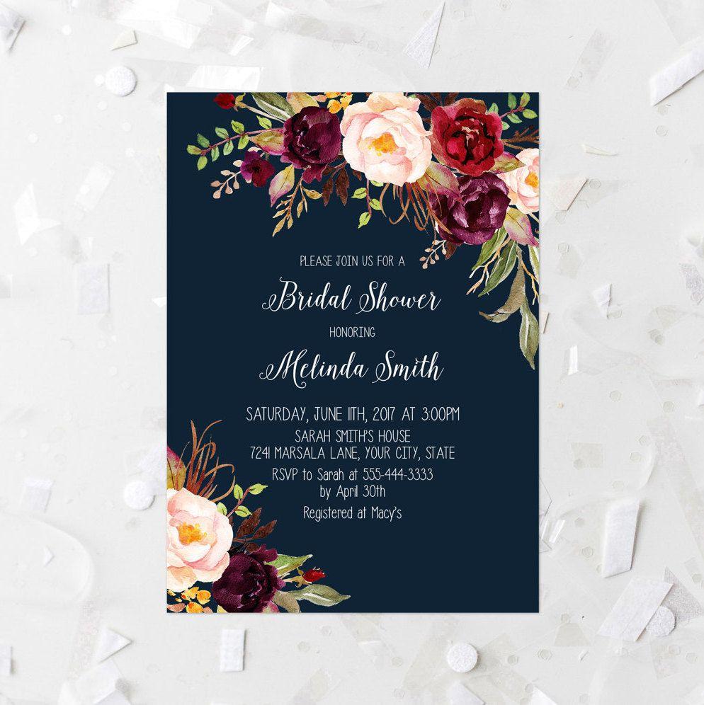 Burgundy floral bridal shower invitation printable navy for Flower bridal shower invitations