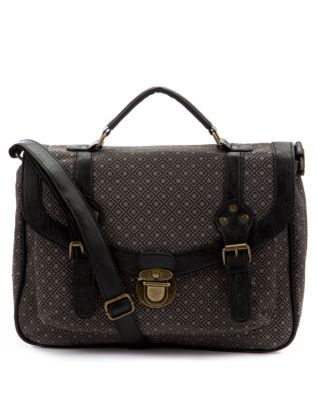 ba3303c92904 Black Pattern (Black) Black Geo Print Satchel | New Look | Bags ...