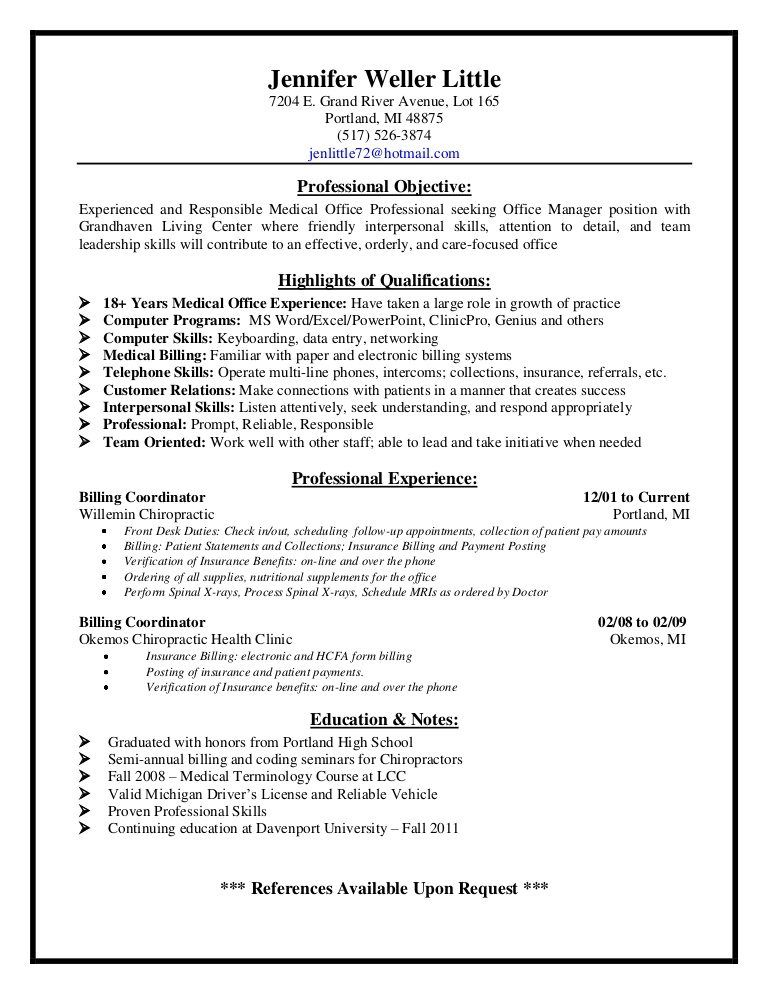 Medical Billing Resume Objective Resume Resumes Pinterest