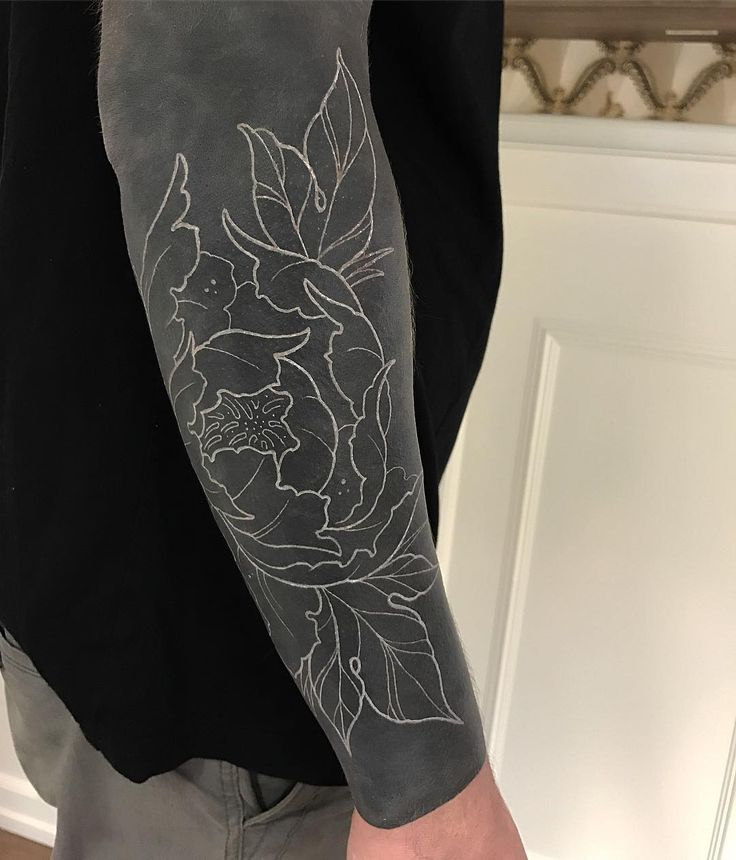 Black Sleeve Tattoo: First Session Of White On This