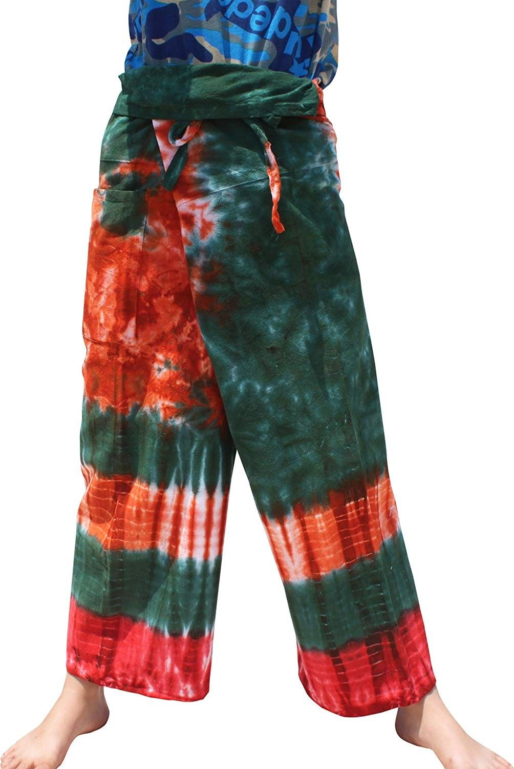 Thick Muang Cotton Thailand Fishermans Pants TieDyed Plus - Green Orange - CO18E8AEY00 - Sports & Fi...