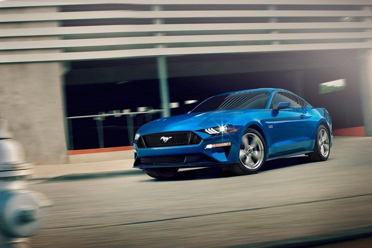 View Of 2019 Mustang Gt Premium In Velocity Blue Seen On The