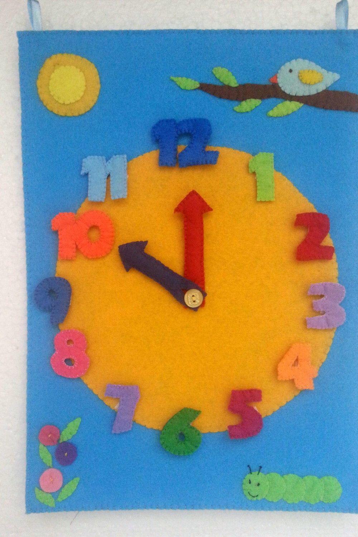 Montessori Clock, Large Wall Clock, Felt Clock, Preschool Learning ...