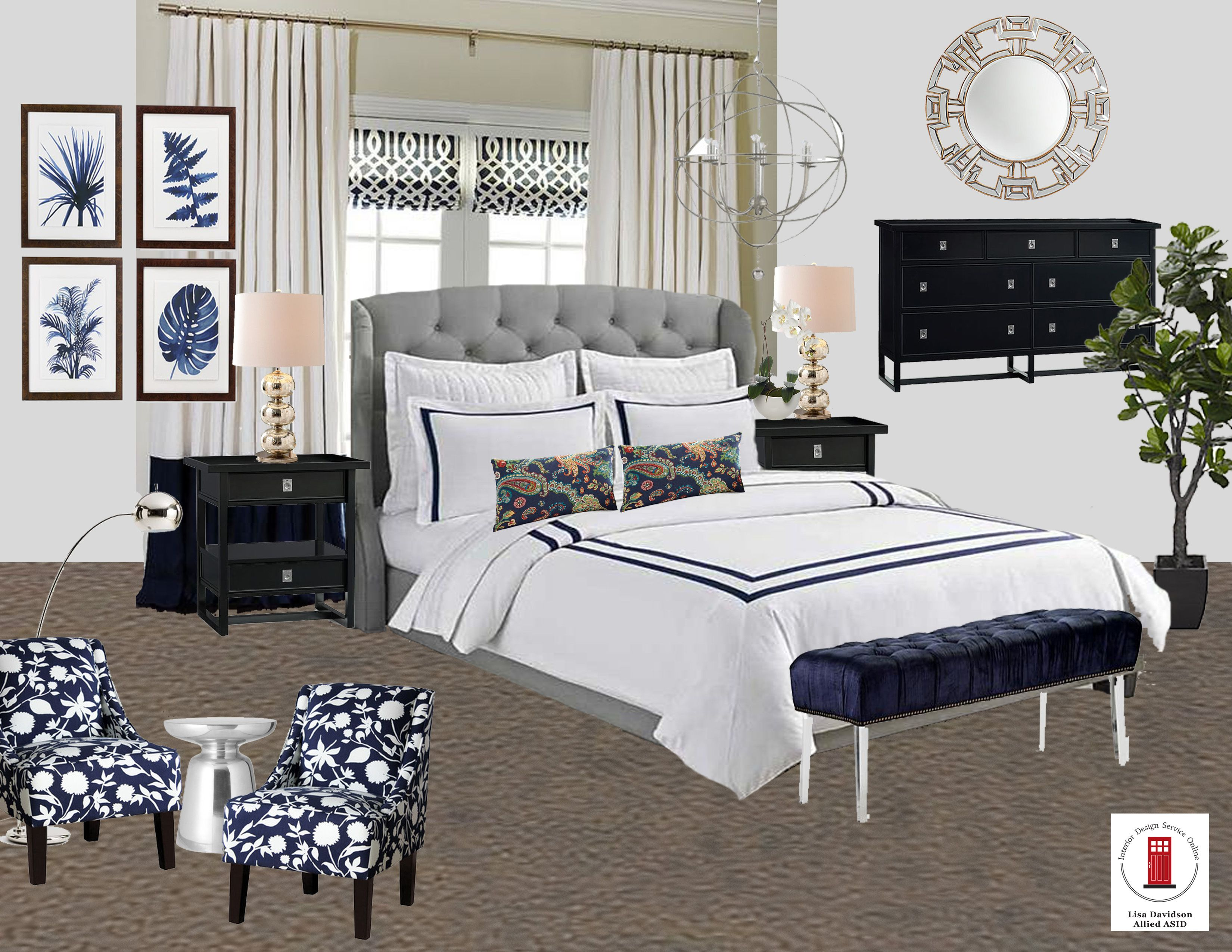 Navy, White and Gray Transitional Master Bedroom Room by