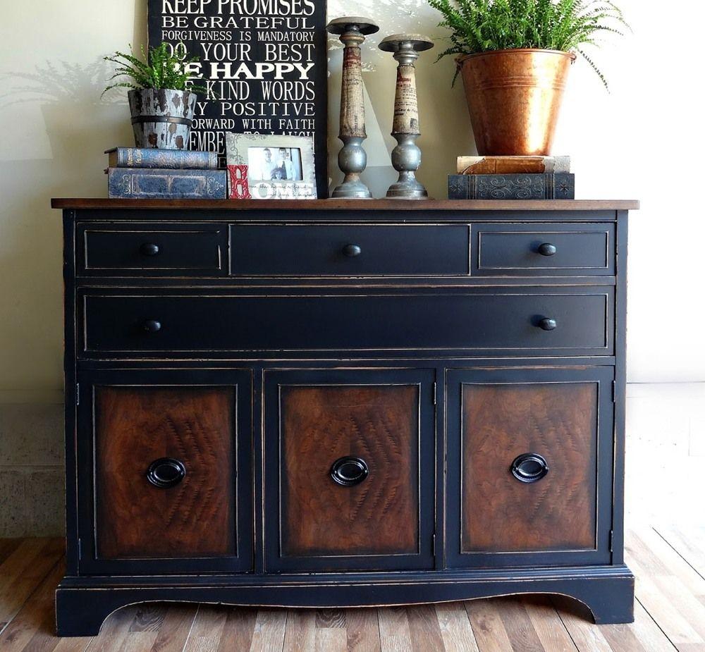 Black Painted Wood Dresser. Painting Wooden FurnitureDistressing ...
