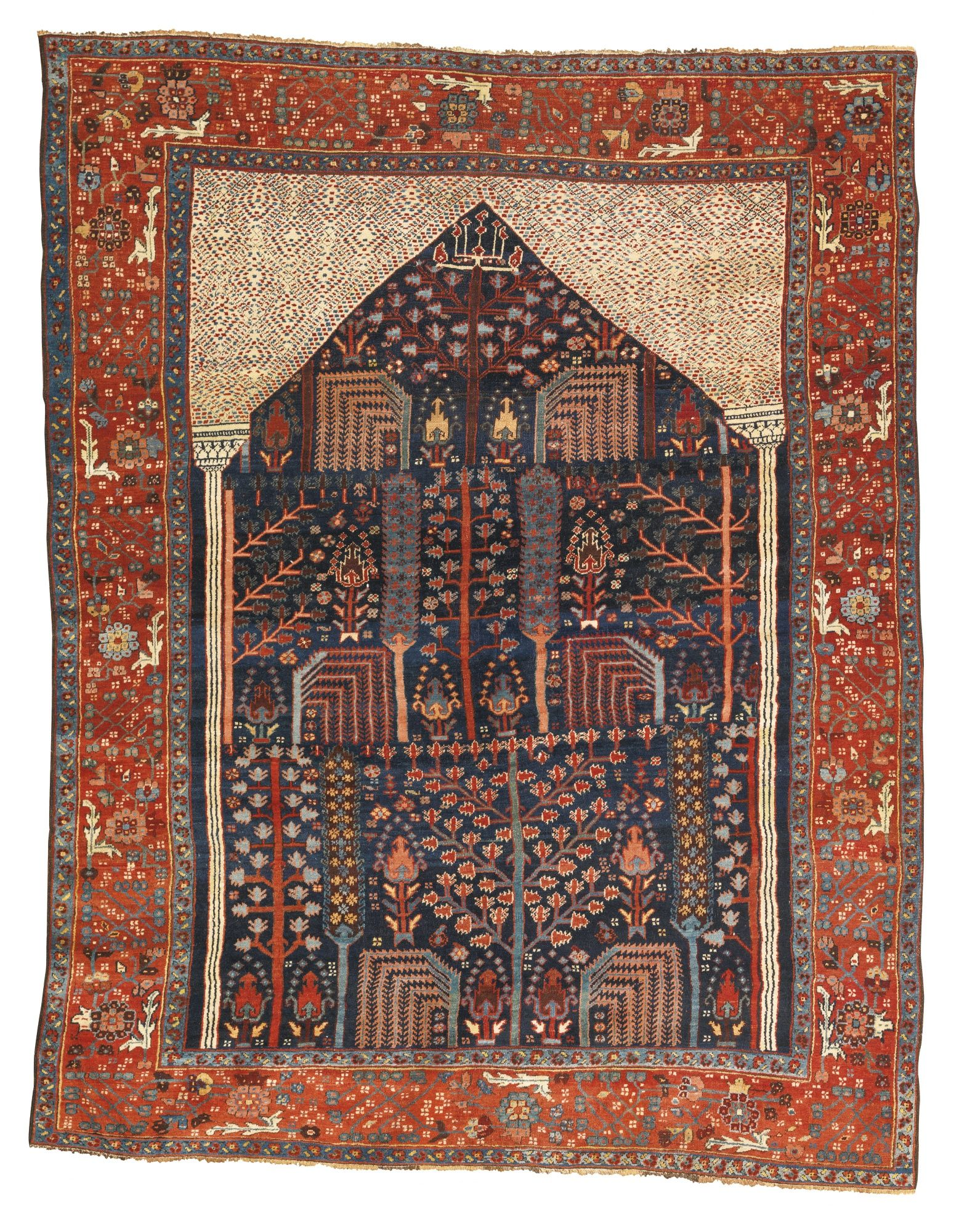 Backing Tapijt Persian Bakshaish Prayer Rug Third Quarter 19th Century Old