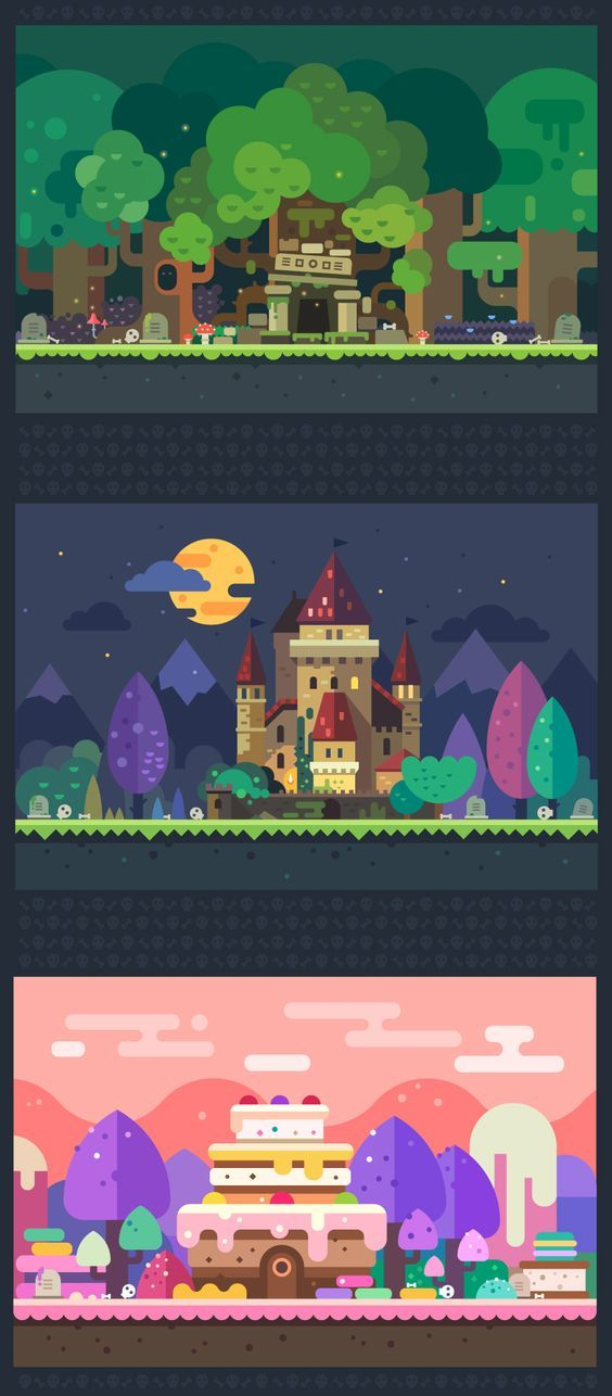 Set of fantastic backgrounds for the game: magic forest with ancient temples, night castle, candy land. Vector flat illustrations: