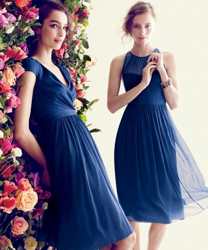 J Crew Mirabelle And Megan Dress In Silk Chiffon Blue Bridesmaids Wedding