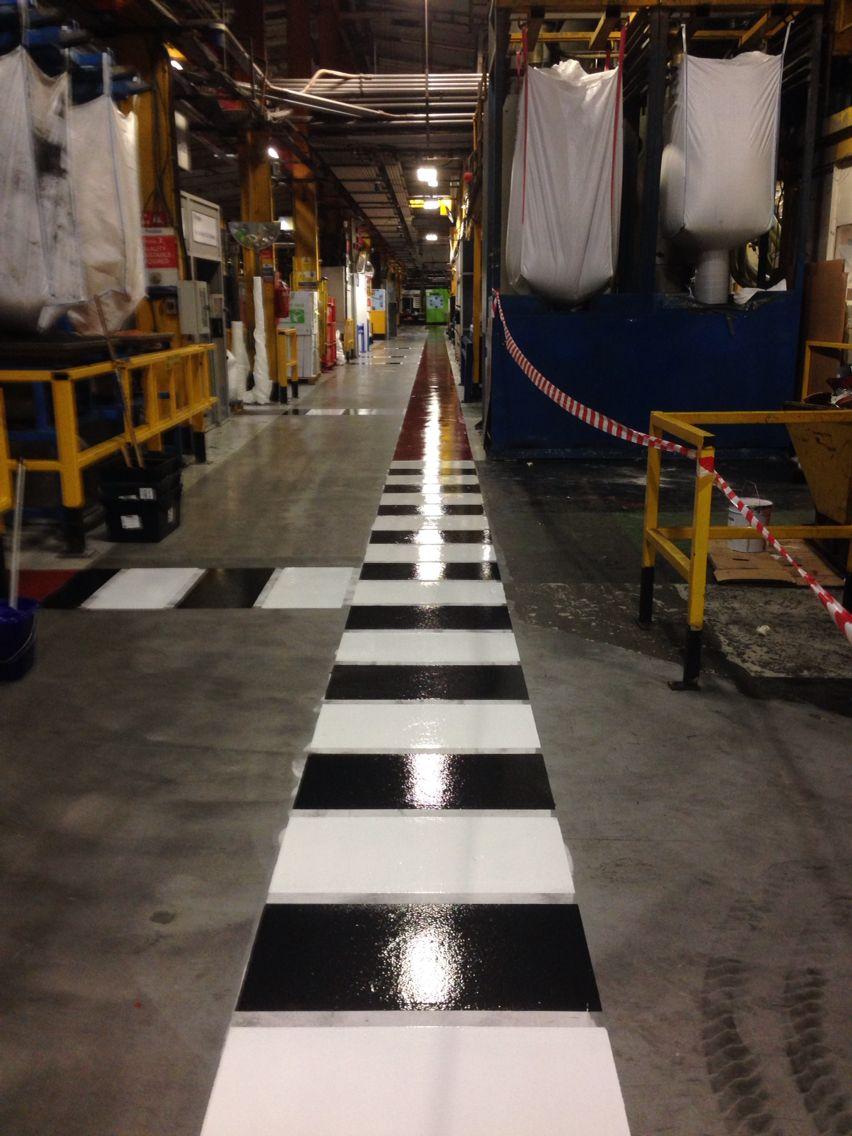 Resin Flooring Safety Markings Pedestrian Walkway And