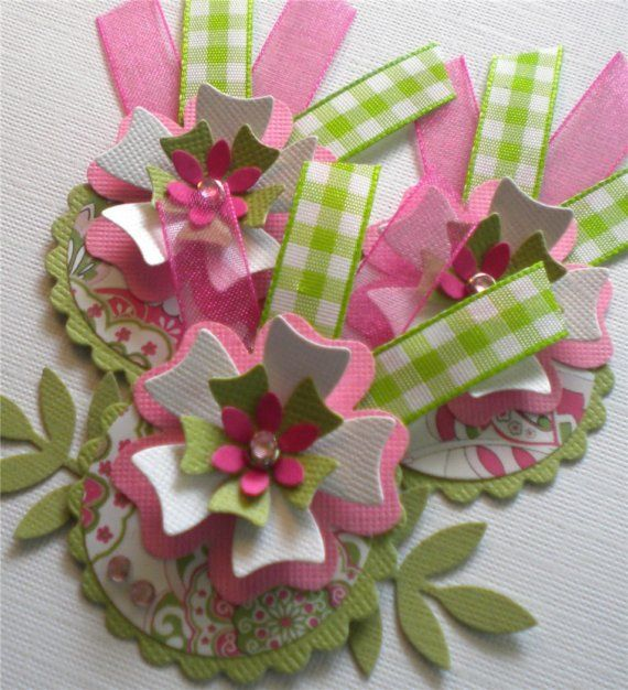 Set of 3 Paper Flowers with Ribbon. Strawberry by KindrasCreations