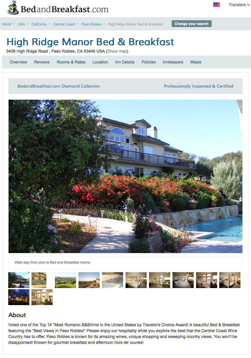 Paso Robles Wine Country Bed & Breakfast High Ridge