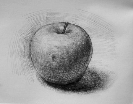 Easy pencil drawing apple