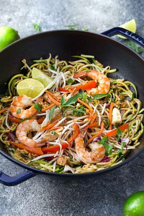 this recipe for pad thai zucchini noodles zoodles is the