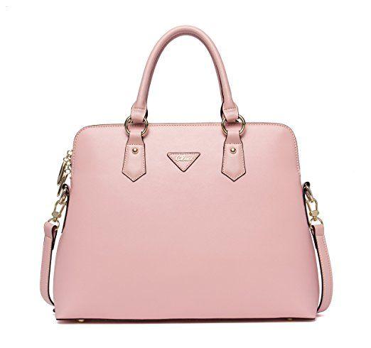 07df2944a4ea0 CLUCI Damen Schultertasche Leder Shopper Handtaschen Umhängetasche Tote Bag Taschen  Rosa